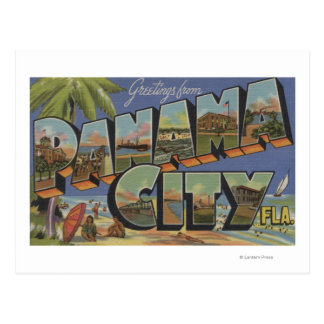 Panama City, Florida - Large Letter Scenes Postcard
