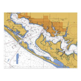 Panama City Florida Nautical Harbor Chart postcard
