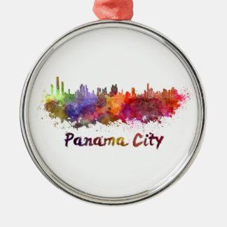 Panama City skyline in watercolor Metal Ornament