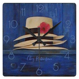 Panama Hats Personalised Square Wall Clock