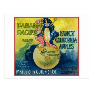 Panama Pacific Apple Crate Label Postcard