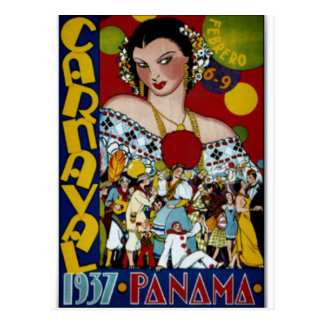 Panama travel poster, 1937 postcard