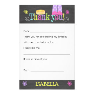 Pancake and Pajama Party Thank you Note, Fill In Stationery Paper