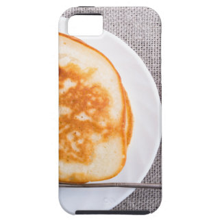 Pancakes and a glass cup with strawberry jam iPhone 5 cases