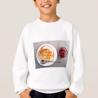 Pancakes and a glass cup with strawberry jam sweatshirt