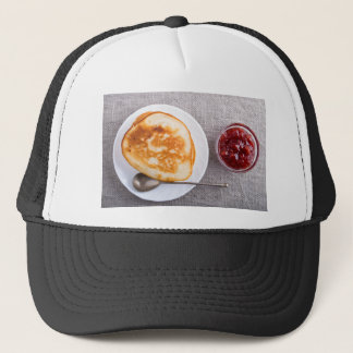 Pancakes and a glass cup with strawberry jam trucker hat