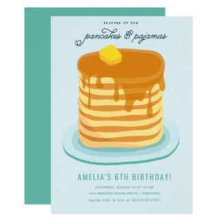 Pancakes and Pajamas Birthday Party Card
