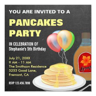 Pancakes And Pajamas Chalkboard Birthday Party Card