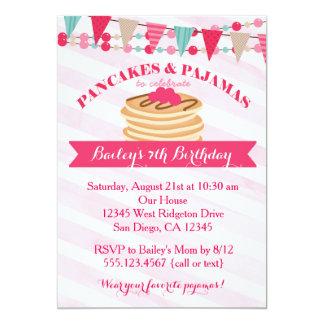 Pancakes and Pajamas Girl Birthday Invitation