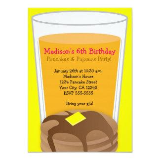Pancakes & Pajamas Yellow Brunch Party Invitation