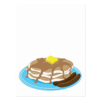 Pancakes Sausage Postcard