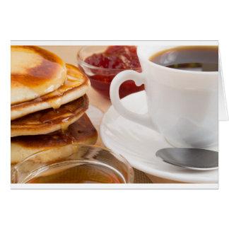 Pancakes with honey, strawberry jam card