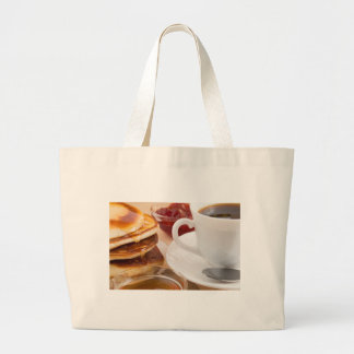 Pancakes with honey, strawberry jam large tote bag