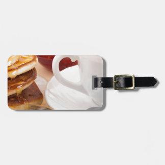 Pancakes with honey, strawberry jam luggage tag