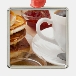 Pancakes with honey, strawberry jam Silver-Colored square decoration