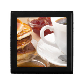 Pancakes with honey, strawberry jam small square gift box