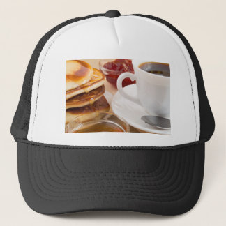 Pancakes with honey, strawberry jam trucker hat