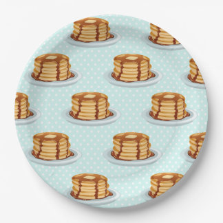 Pancakes with Maple Syrup & Polkadot Pattern Paper Plate