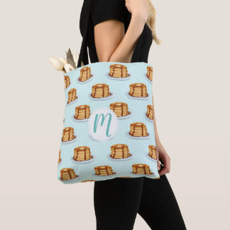 Pancakes with Maple Syrup & Polkadot Pattern Tote Bag