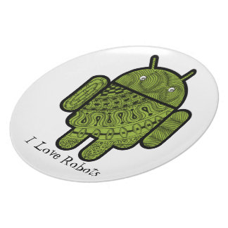 Pancho Doodle Character for the Android™ robot Dinner Plates