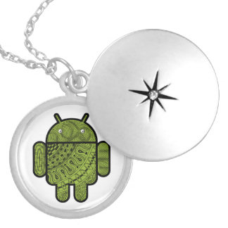 Pancho Doodle Character for the Android™ robot Round Locket Necklace