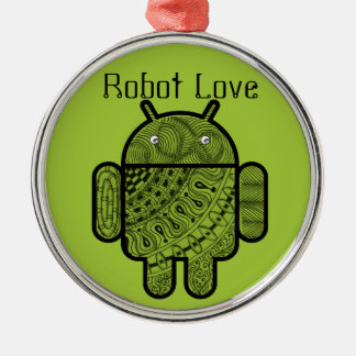 Pancho Doodle Character for the Android™ robot Silver-Colored Round Decoration