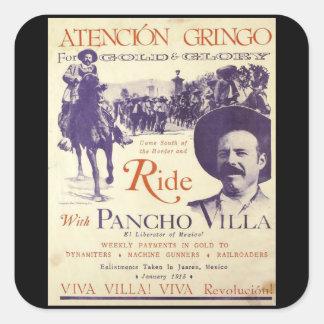 Pancho Villa Mexican Hero General Square Sticker