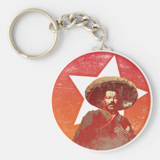 Pancho Villa Vintage Red Star Basic Round Button Key Ring