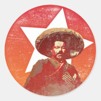 Pancho Villa Vintage Red Star Round Sticker