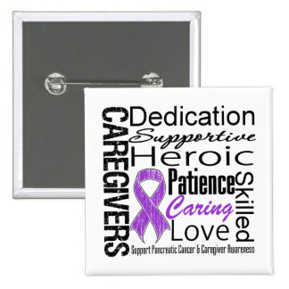 Pancreatic Cancer Caregivers Collage Pinback Buttons