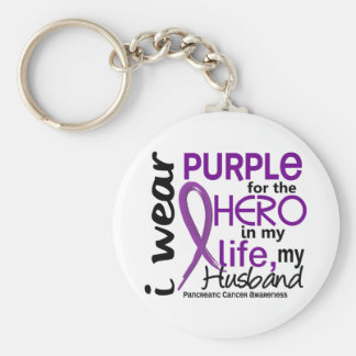 Pancreatic Cancer For My Hero My Husband 2 Basic Round Button Key Ring