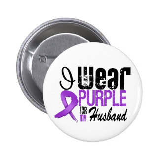 Pancreatic Cancer I Wear Purple Ribbon HUSBAND Pins