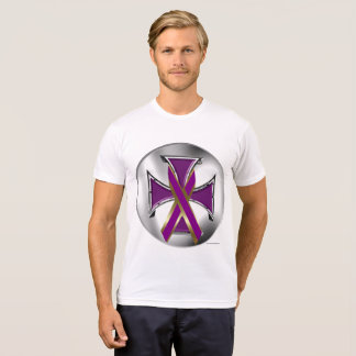 Pancreatic Cancer Iron Cross Men's Poly-Cotton T T-Shirt