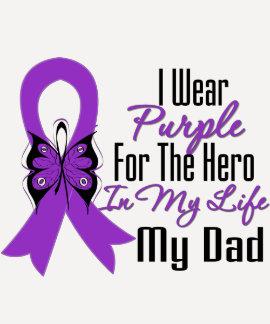 Pancreatic Cancer Ribbon My Hero My Dad Tee Shirts