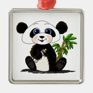 Panda Baby Silver-Colored Square Decoration