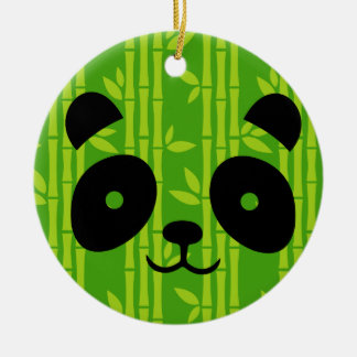 panda bamboo ceramic ornament
