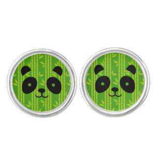 panda bamboo cuff links
