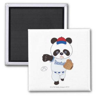 Panda Baseball Player Pitching a Baseball Fridge Magnets
