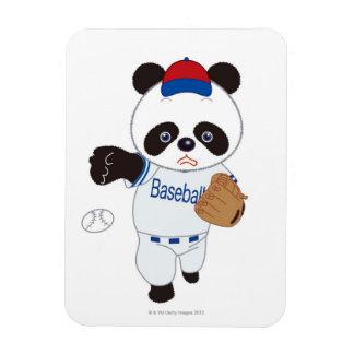 Panda Baseball Player Pitching a Baseball Flexible Magnets