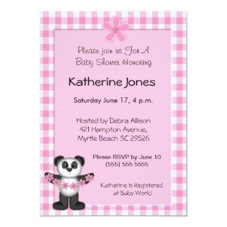Panda Bear Baby Shower Invitaions 5x7 Paper Invitation Card