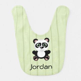 Panda Bear Bamboo Background Black & White Bib