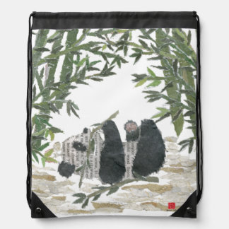 Panda Bear, Bamboo Drawstring Bag
