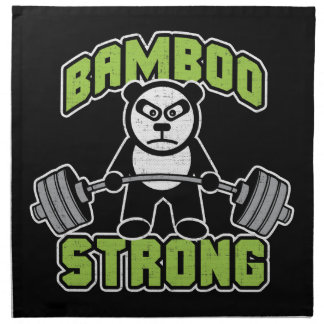 Panda Bear Cartoon - Bamboo Strong - Deadlift Napkin
