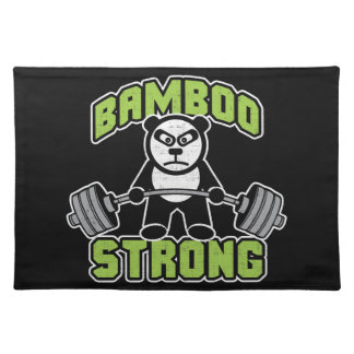 Panda Bear Cartoon - Bamboo Strong - Deadlift Placemat