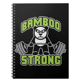 Panda Bear Cartoon - Bamboo Strong - Deadlift Spiral Notebook