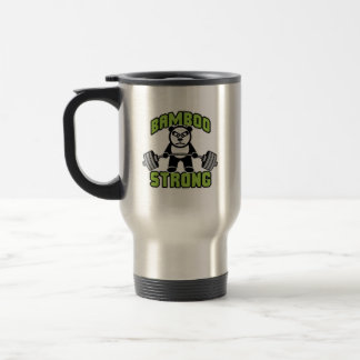 Panda Bear Cartoon - Bamboo Strong - Deadlift Travel Mug
