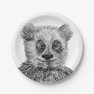 """Panda Bear Drawing Custom Paper Plates 7"""""""