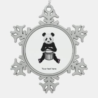 Panda Bear Drum Illustration Pewter Snowflake Decoration