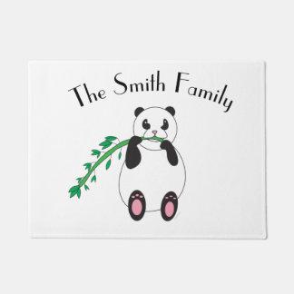Panda Bear Eating Bamboo Personalize Doormat