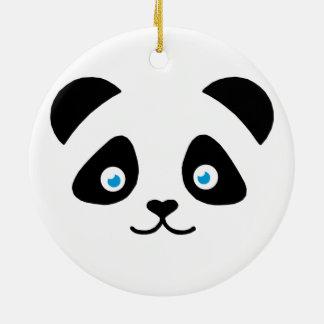 panda bear face ceramic ornament
